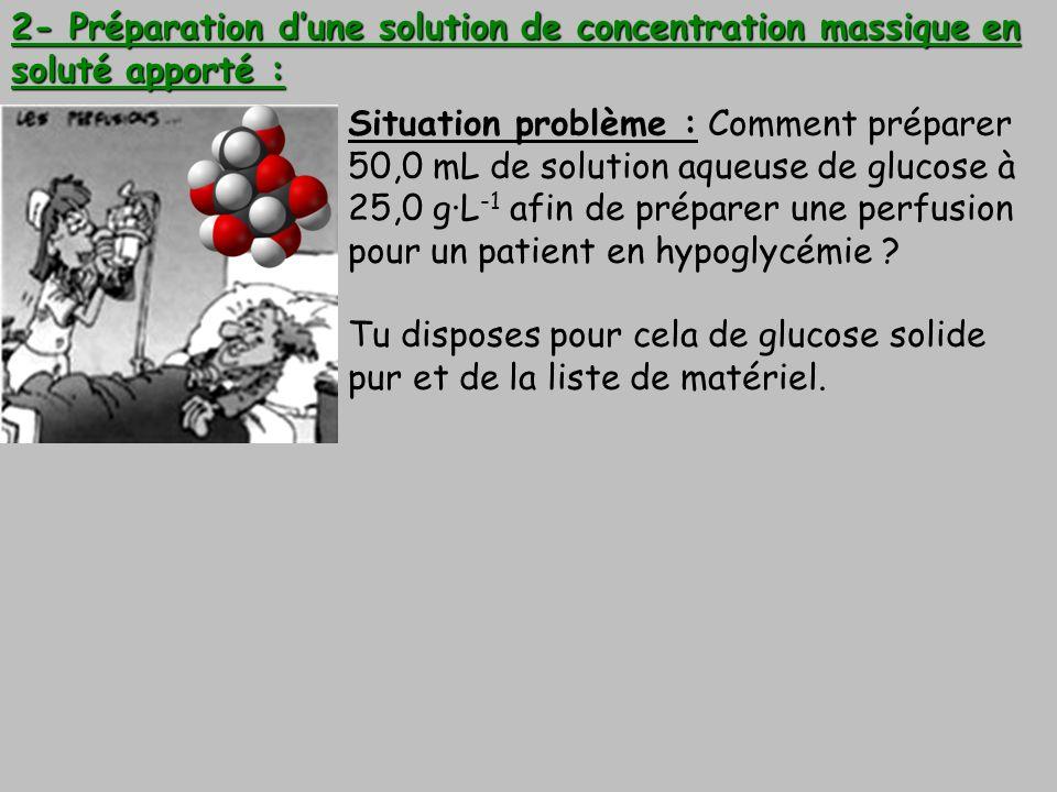 2- Préparation d'une solution de concentration massique en soluté apporté :