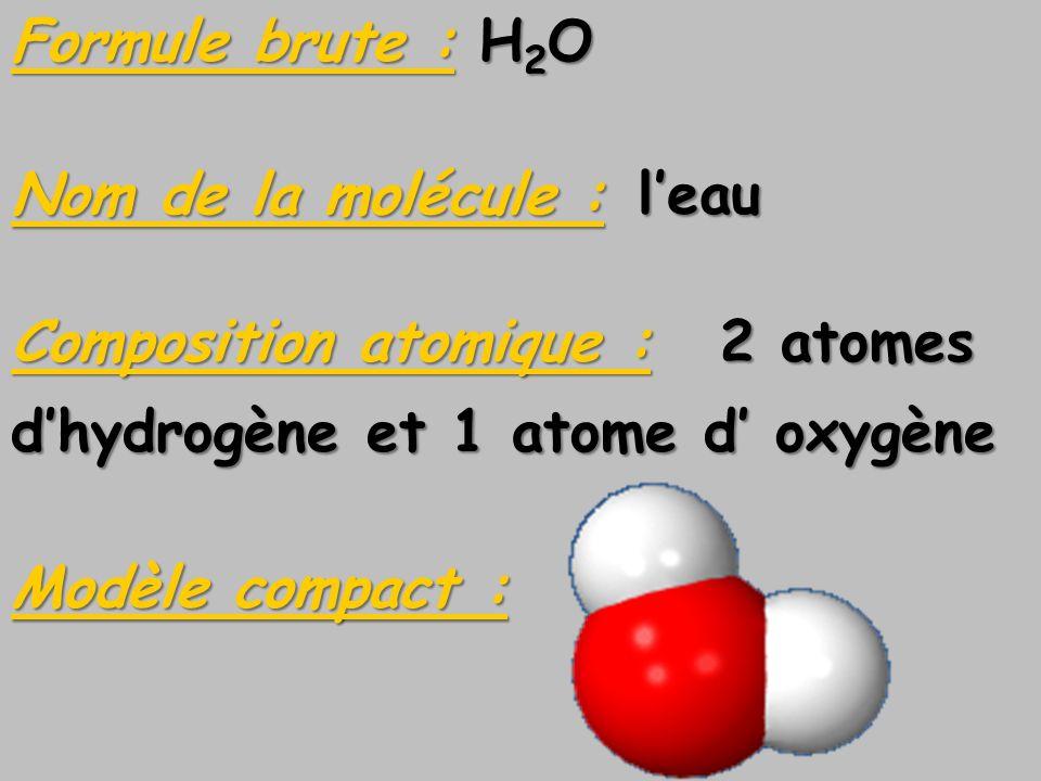 Formule brute : H2ONom de la molécule : l'eau. Composition atomique : 2 atomes. d'hydrogène et 1 atome d' oxygène.