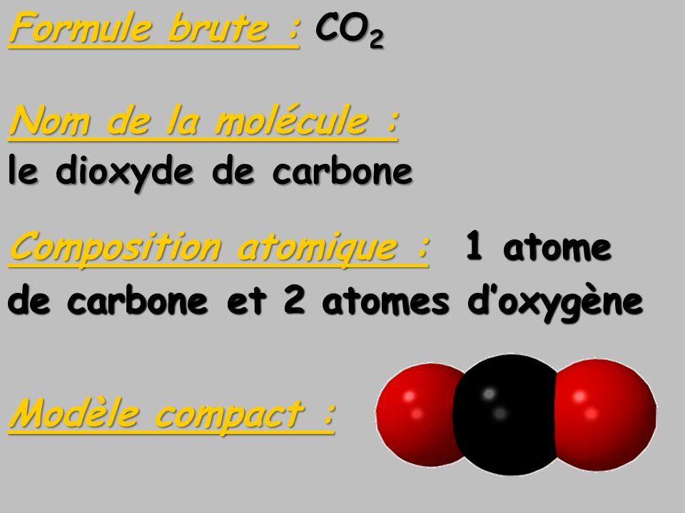 Formule brute : CO2Nom de la molécule : le dioxyde de carbone. Composition atomique : 1 atome. de carbone et 2 atomes d'oxygène.