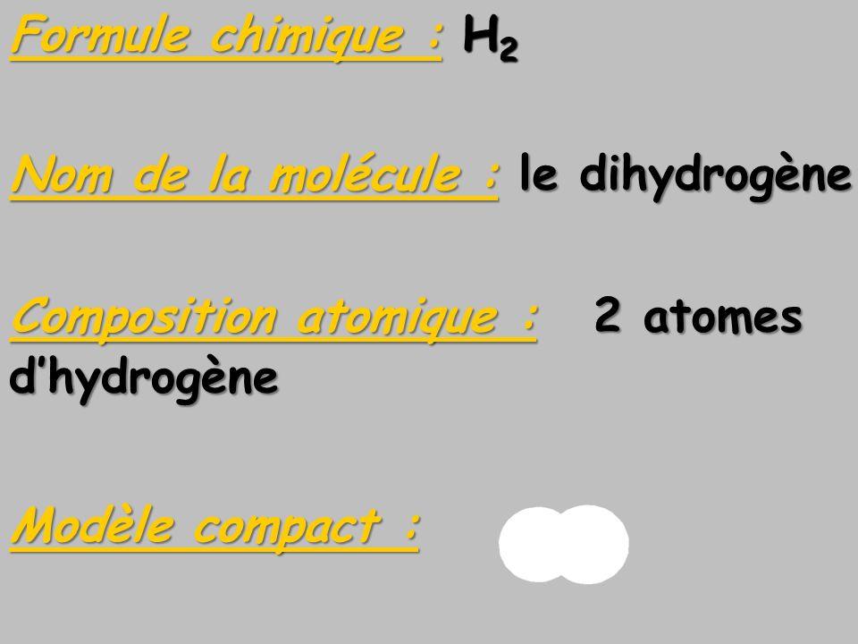Formule chimique : H2 Nom de la molécule : le dihydrogène. Composition atomique : 2 atomes. d'hydrogène.