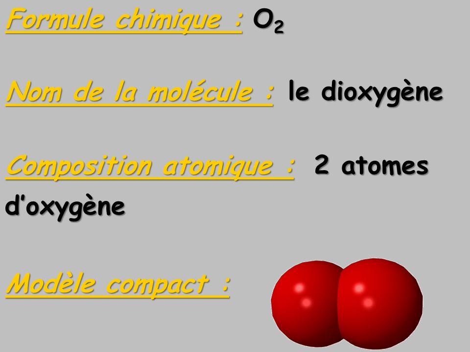 Formule chimique : O2Nom de la molécule : le dioxygène. Composition atomique : 2 atomes. d'oxygène.