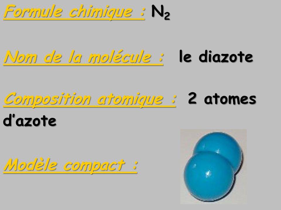 Formule chimique : N2 Nom de la molécule : le diazote. Composition atomique : 2 atomes. d'azote.