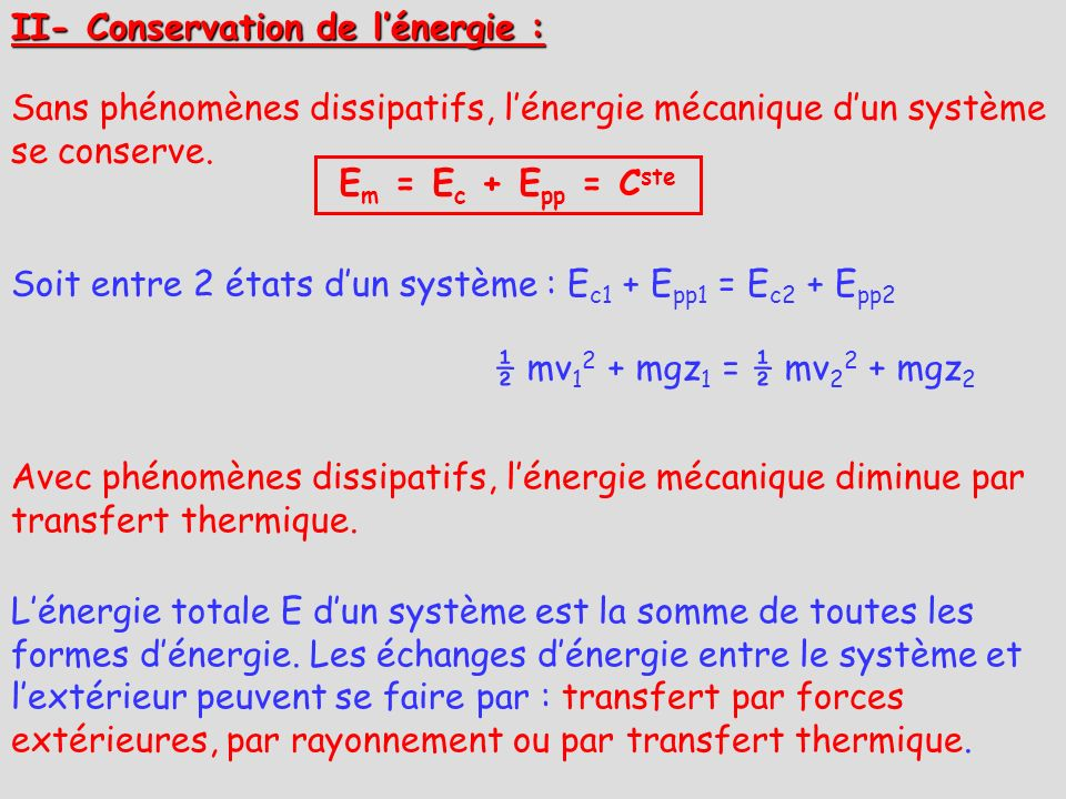II- Conservation de l'énergie :