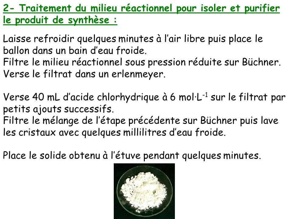 2- Traitement du milieu réactionnel pour isoler et purifier le produit de synthèse :
