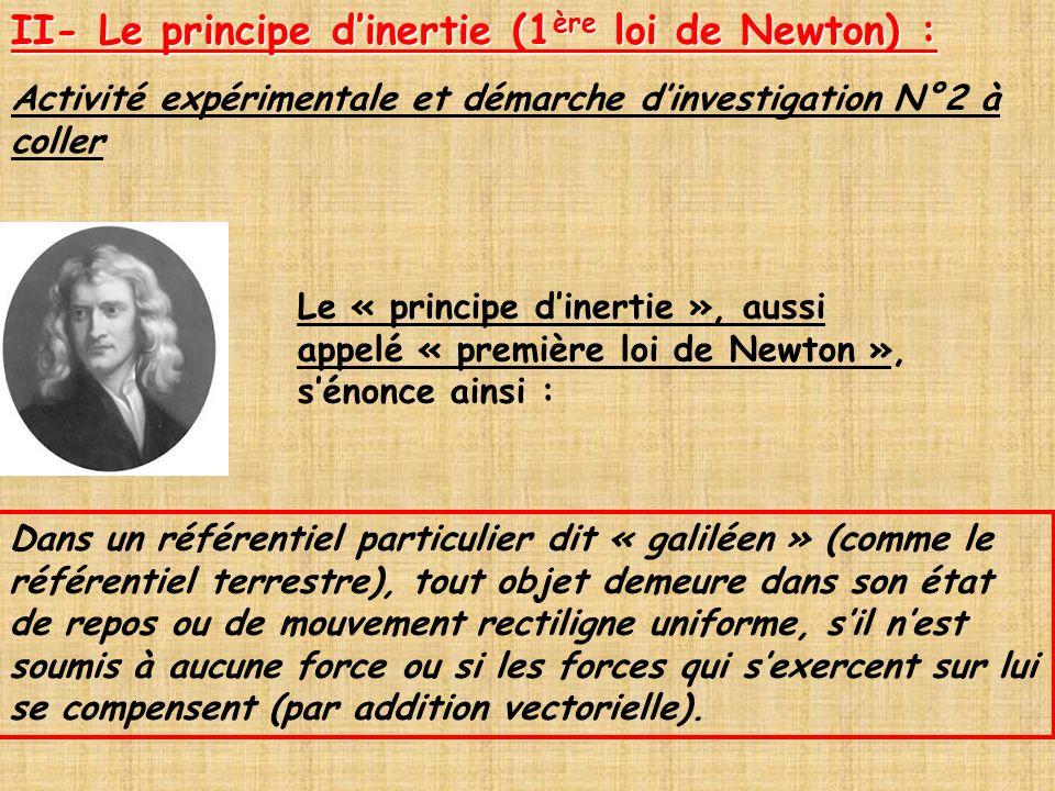 II- Le principe d'inertie (1ère loi de Newton) :