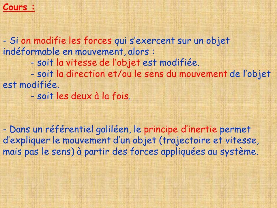 Cours :- Si on modifie les forces qui s'exercent sur un objet indéformable en mouvement, alors : - soit la vitesse de l'objet est modifiée.