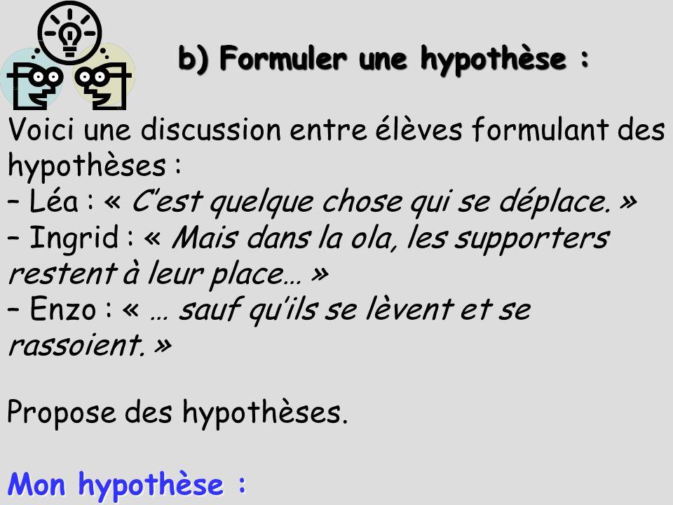 b) Formuler une hypothèse :