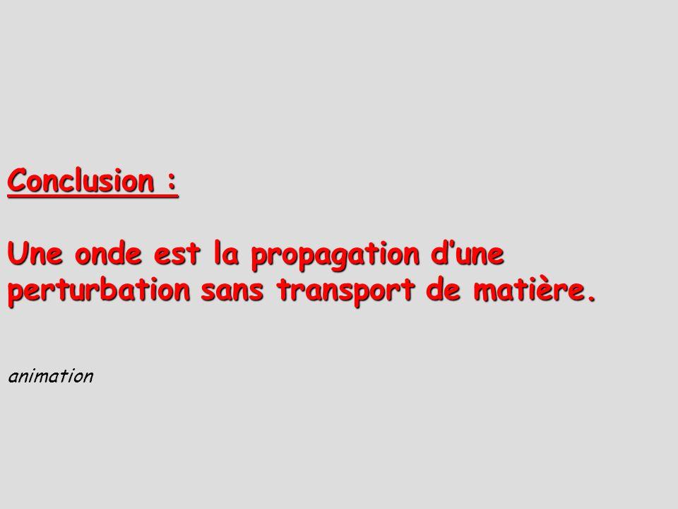 Conclusion : Une onde est la propagation d'une perturbation sans transport de matière. animation 22