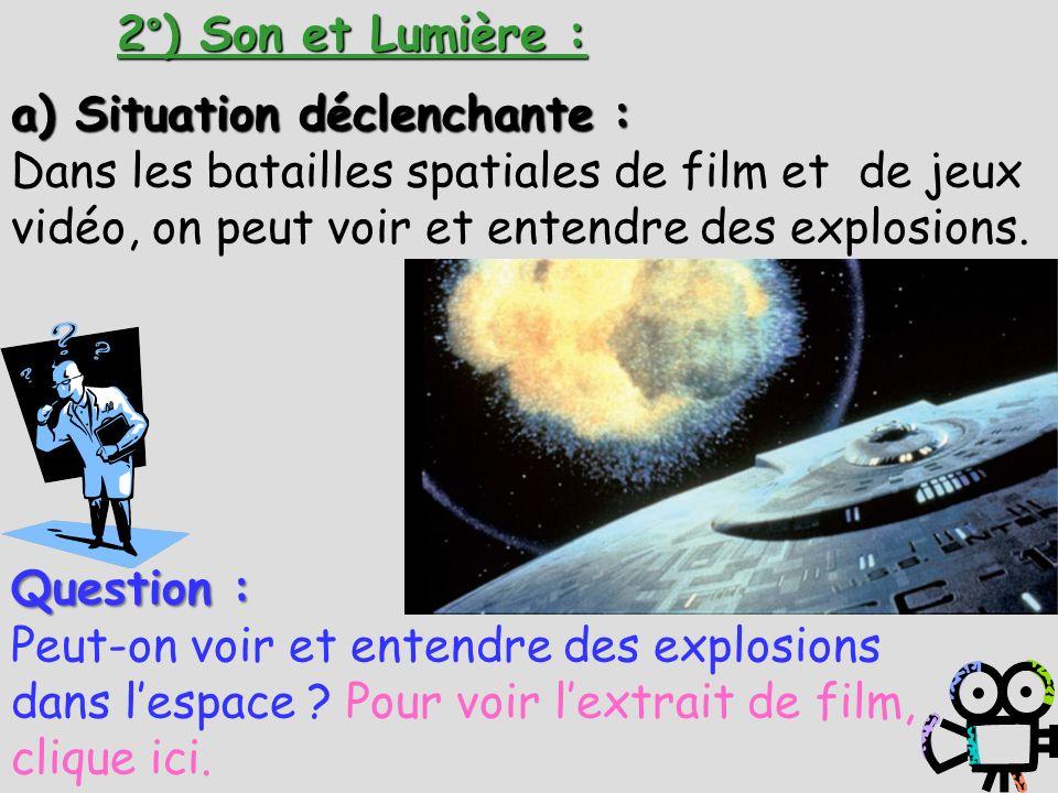 2°) Son et Lumière :a) Situation déclenchante : Dans les batailles spatiales de film et de jeux vidéo, on peut voir et entendre des explosions.