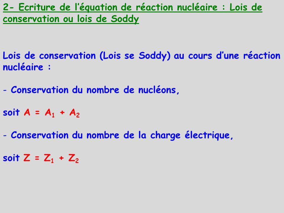 Conservation du nombre de nucléons, soit A = A1 + A2