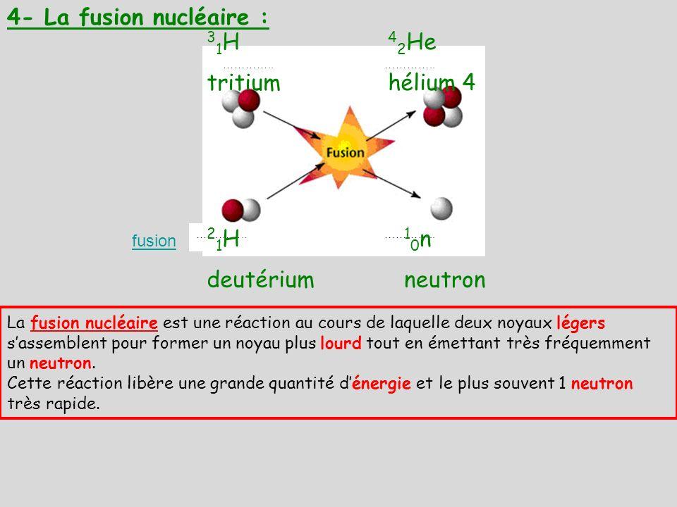 4- La fusion nucléaire : 31H tritium 42He hélium 4 21H deutérium 10n