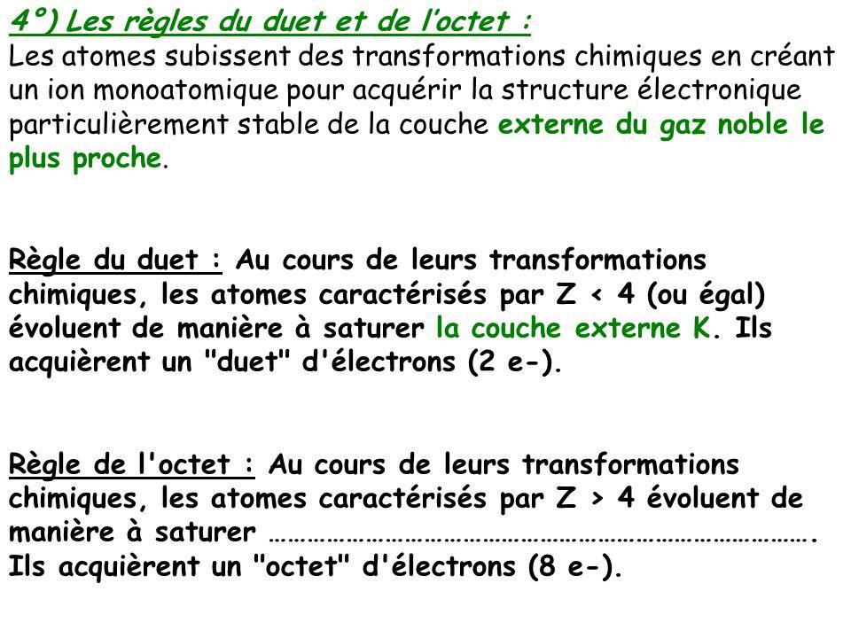4°) Les règles du duet et de l'octet :