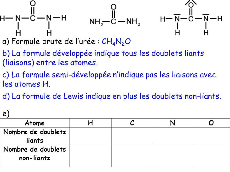 Nombre de doublets liants Nombre de doublets non-liants