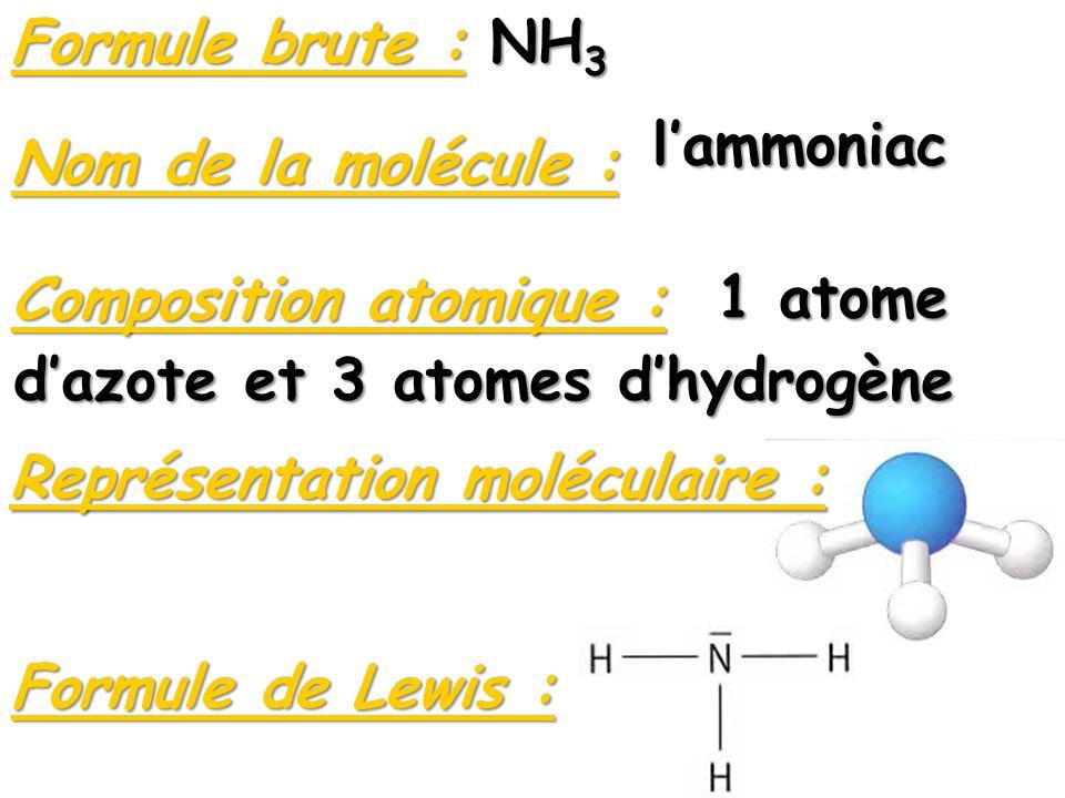 Composition atomique : 1 atome d'azote et 3 atomes d'hydrogène