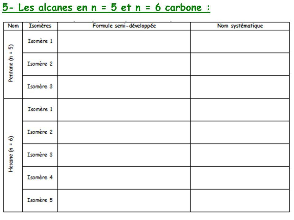5- Les alcanes en n = 5 et n = 6 carbone :