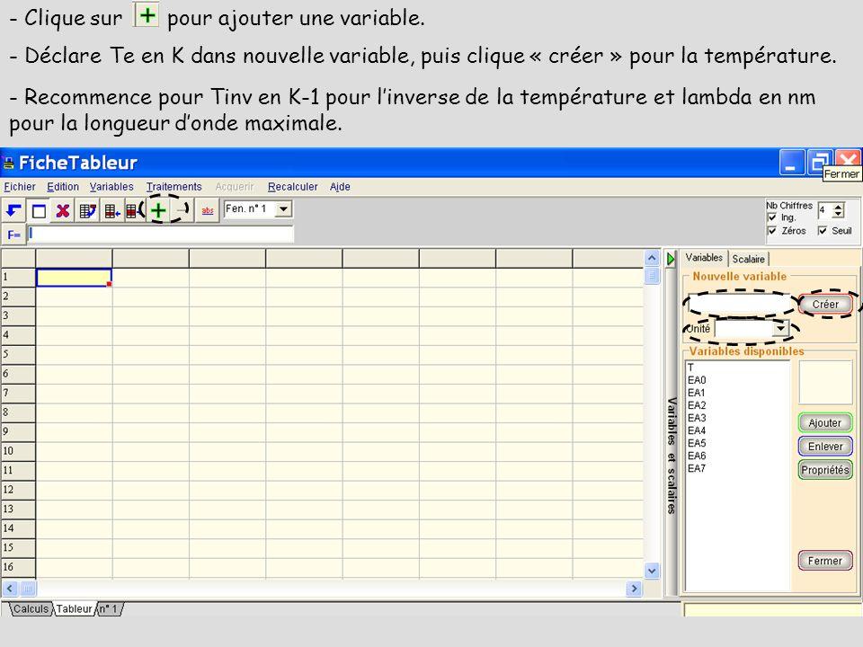 - Clique sur pour ajouter une variable.