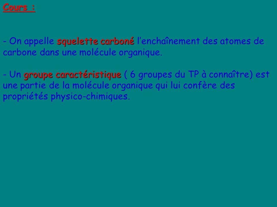 Cours : On appelle squelette carboné l'enchaînement des atomes de carbone dans une molécule organique.