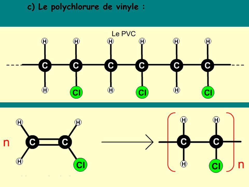 c) Le polychlorure de vinyle :