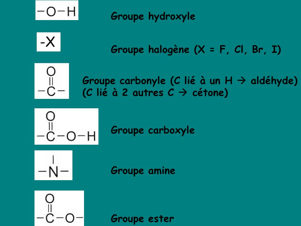 -X Groupe hydroxyle Groupe halogène (X = F, Cl, Br, I)