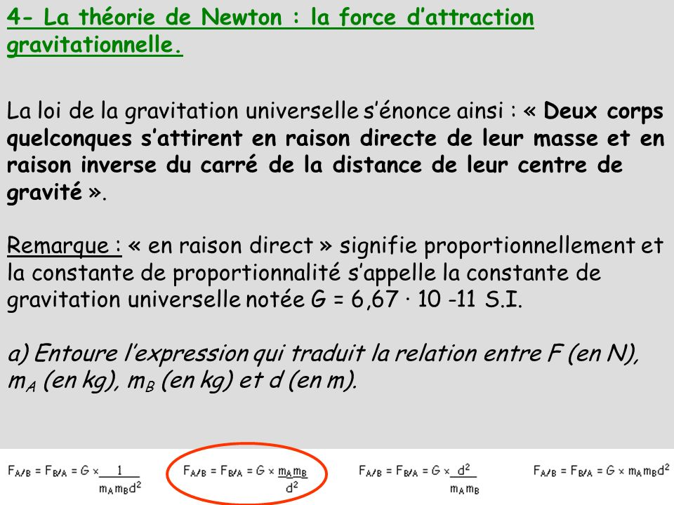 4- La théorie de Newton : la force d'attraction gravitationnelle.
