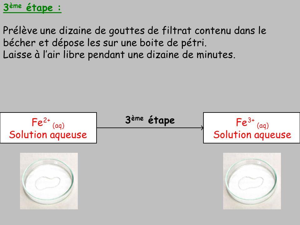 3ème étape : Prélève une dizaine de gouttes de filtrat contenu dans le bécher et dépose les sur une boite de pétri.