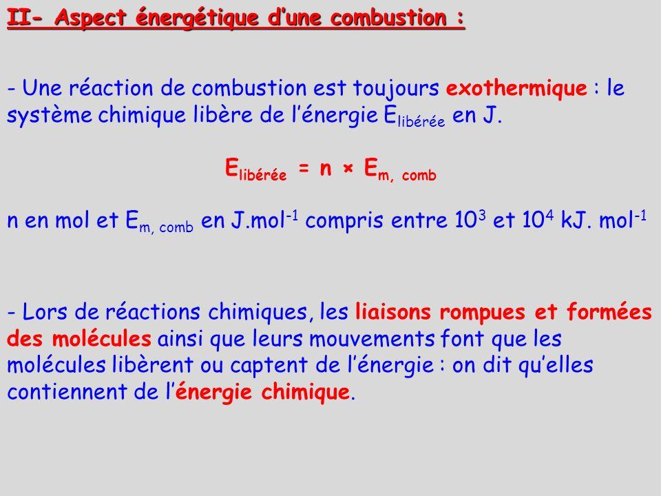 II- Aspect énergétique d'une combustion :