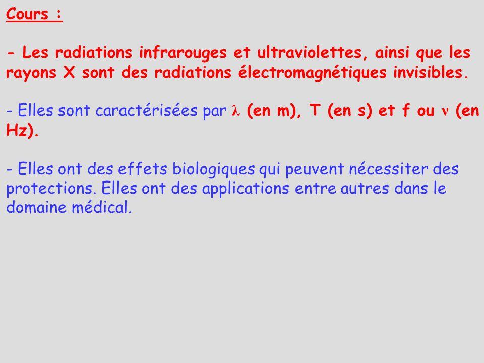 Cours : - Les radiations infrarouges et ultraviolettes, ainsi que les rayons X sont des radiations électromagnétiques invisibles.