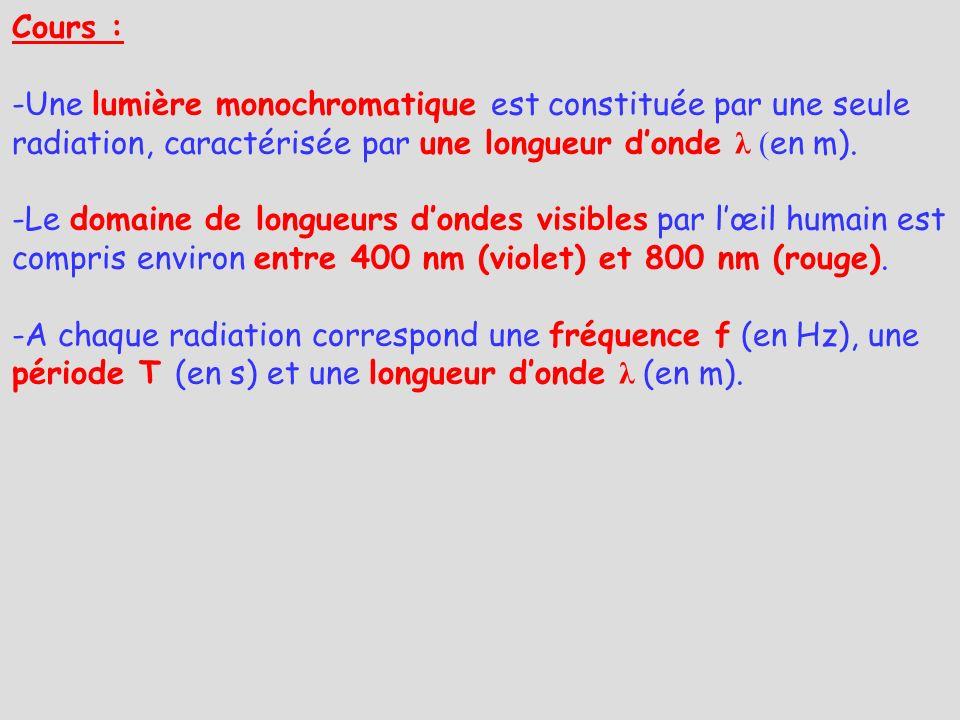 Cours : Une lumière monochromatique est constituée par une seule radiation, caractérisée par une longueur d'onde λ (en m).
