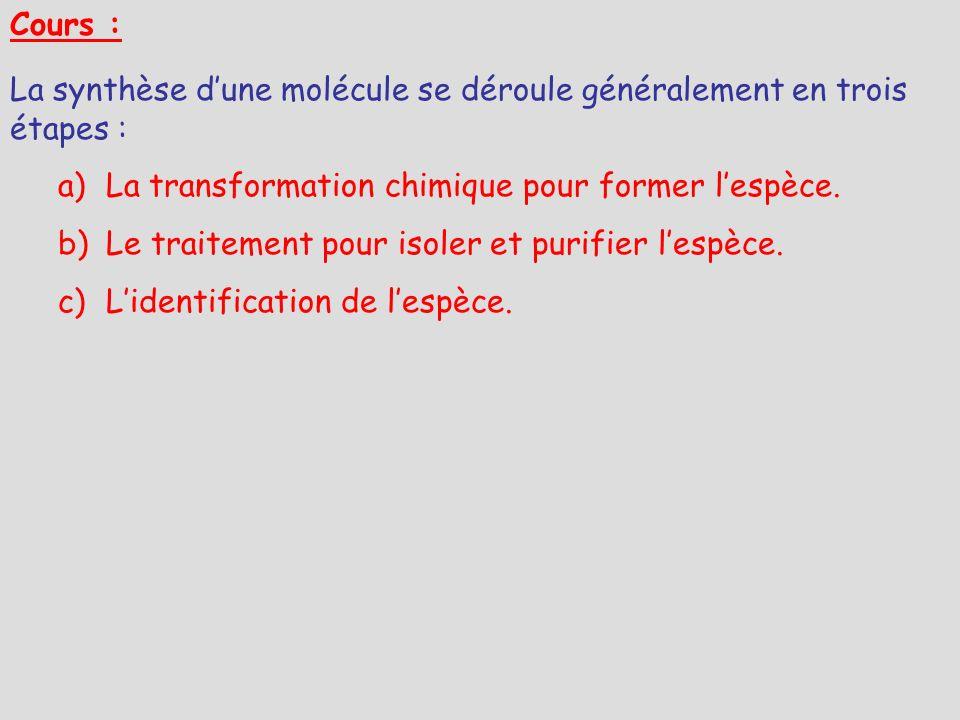 Cours : La synthèse d'une molécule se déroule généralement en trois étapes : La transformation chimique pour former l'espèce.