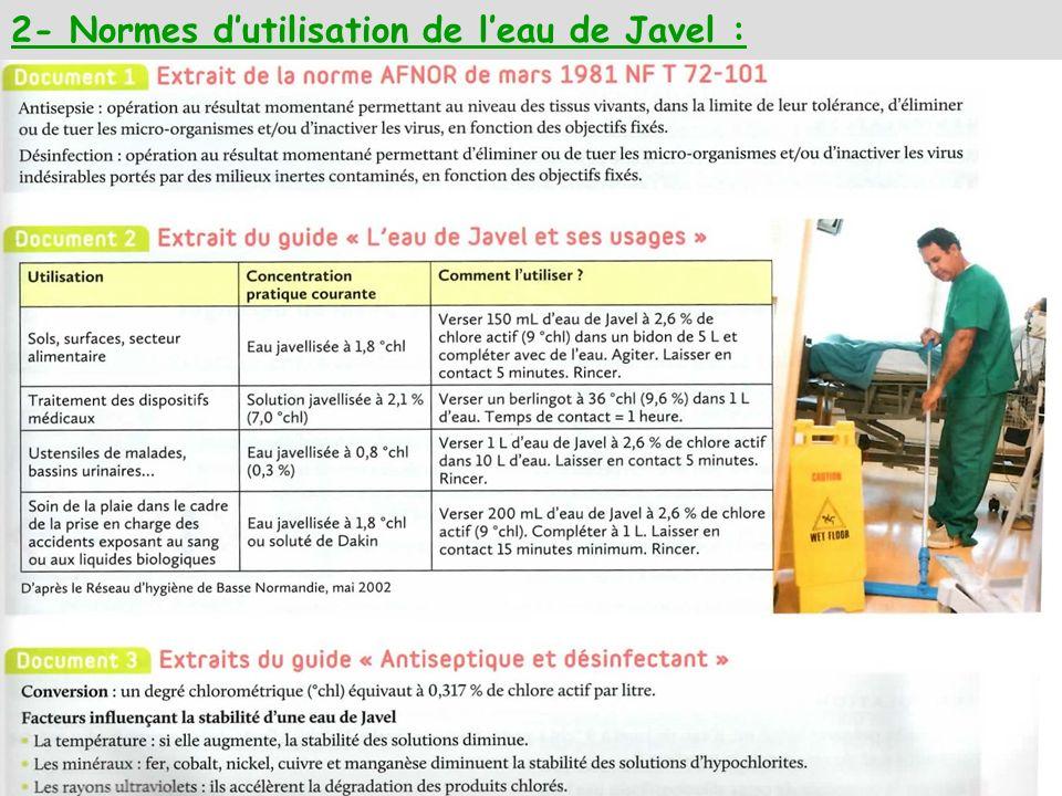 2- Normes d'utilisation de l'eau de Javel :