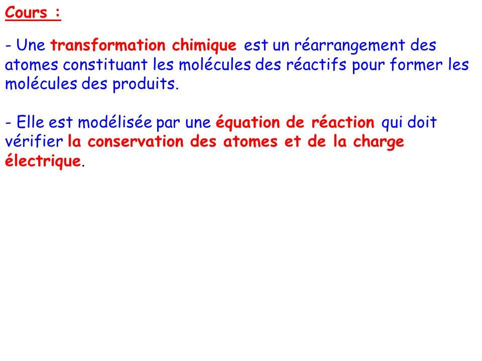 Cours :Une transformation chimique est un réarrangement des atomes constituant les molécules des réactifs pour former les molécules des produits.
