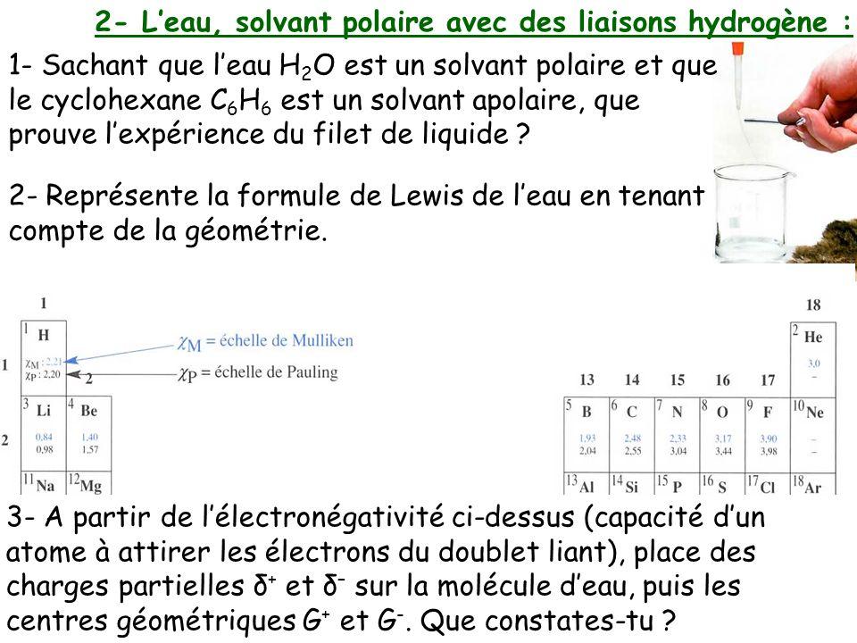 2- L'eau, solvant polaire avec des liaisons hydrogène :