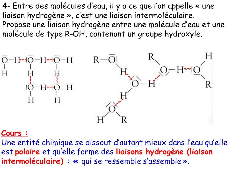 4- Entre des molécules d'eau, il y a ce que l'on appelle « une liaison hydrogène », c'est une liaison intermoléculaire.