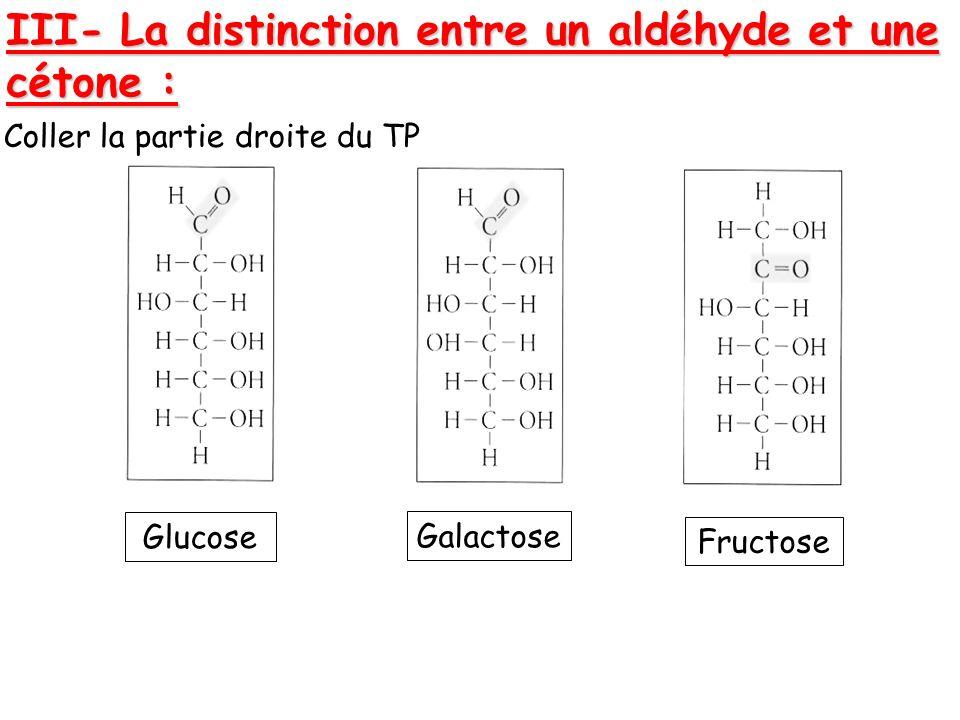 III- La distinction entre un aldéhyde et une cétone :