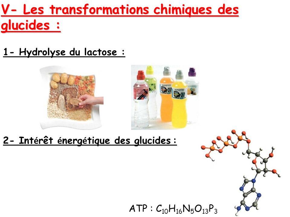V- Les transformations chimiques des glucides :