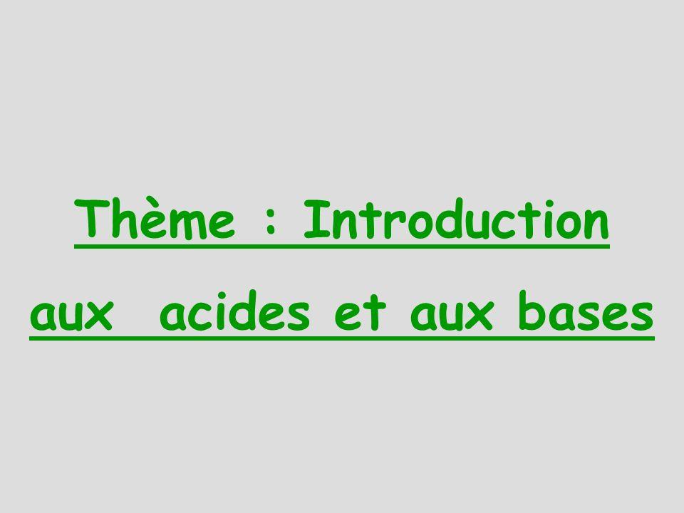 Thème : Introduction aux acides et aux bases