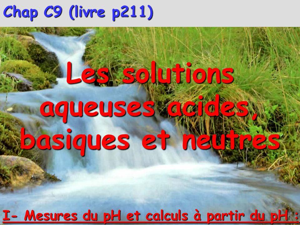 Les solutions aqueuses acides, basiques et neutres