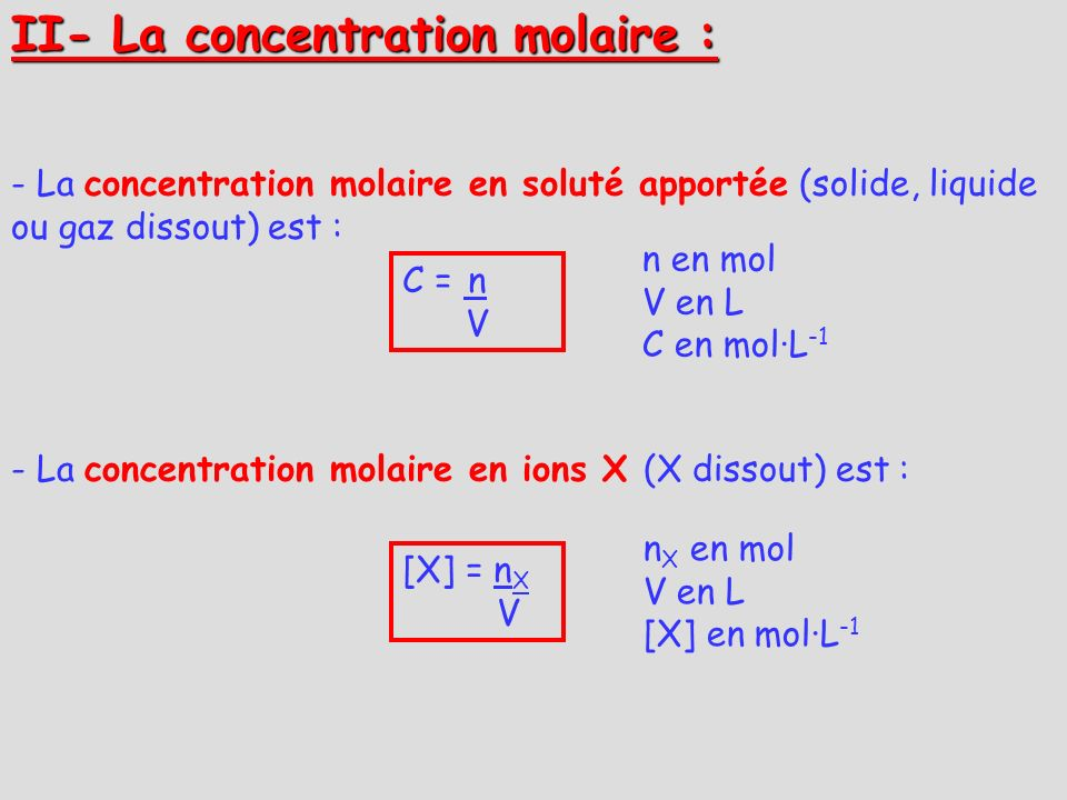II- La concentration molaire :