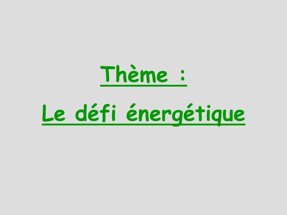 Thème : Le défi énergétique