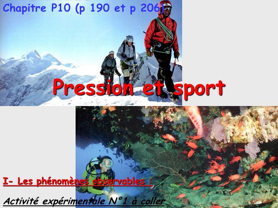 Pression et sport Chapitre P10 (p 190 et p 206)