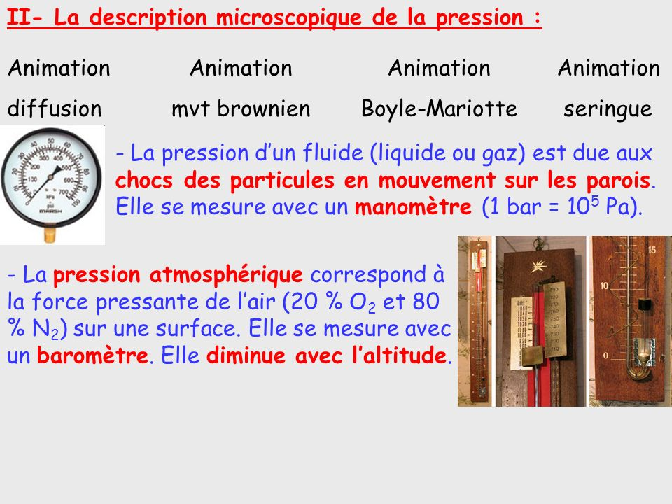II- La description microscopique de la pression :
