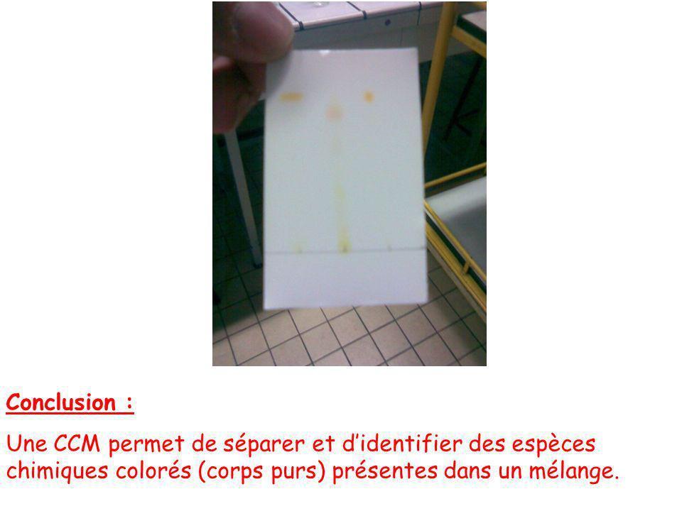 Conclusion : Une CCM permet de séparer et d'identifier des espèces chimiques colorés (corps purs) présentes dans un mélange.