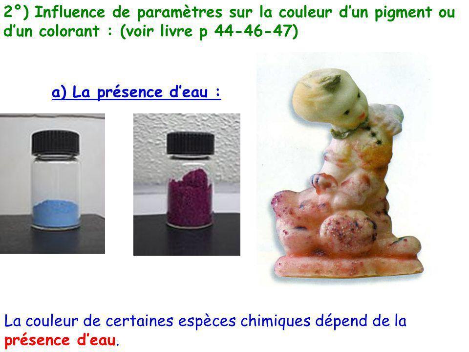 2°) Influence de paramètres sur la couleur d'un pigment ou d'un colorant : (voir livre p 44-46-47)