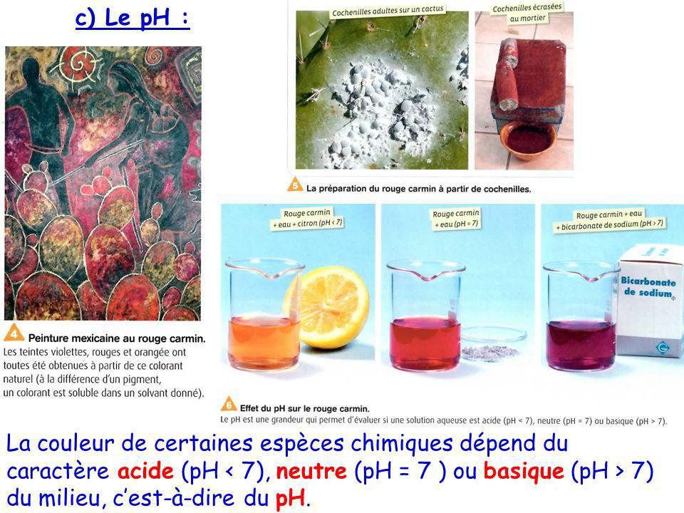 c) Le pH :