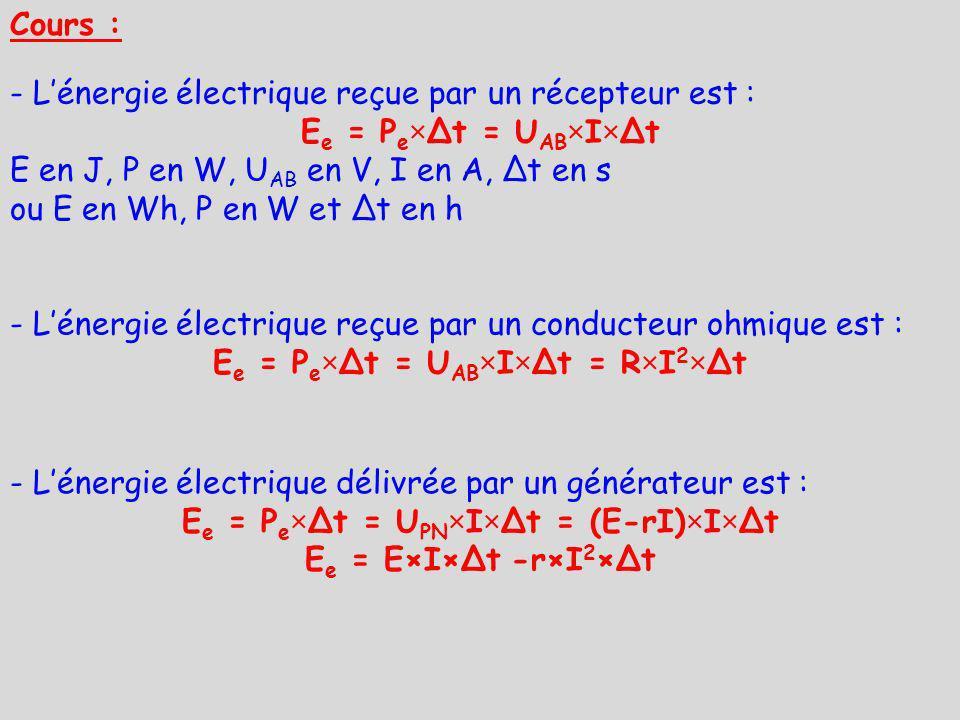 Ee = Pe×Δt = UAB×I×Δt = R×I2×Δt Ee = Pe×Δt = UPN×I×Δt = (E-rI)×I×Δt