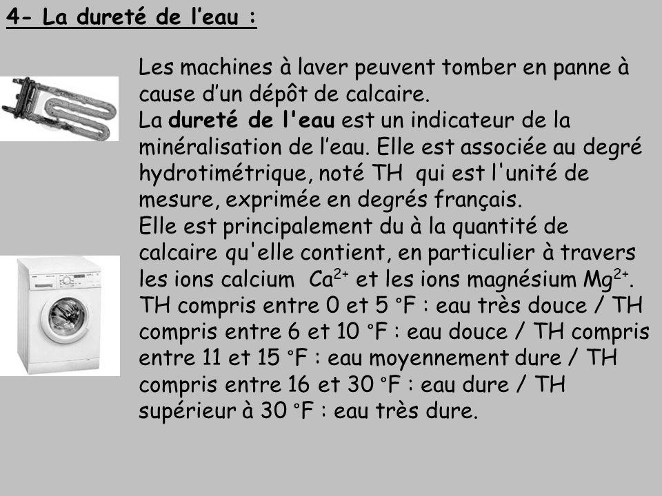 4- La dureté de l'eau :Les machines à laver peuvent tomber en panne à cause d'un dépôt de calcaire.