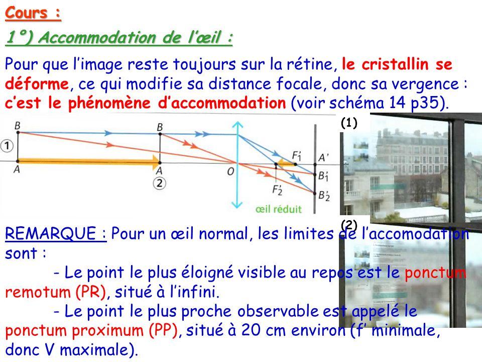 1°) Accommodation de l'œil :