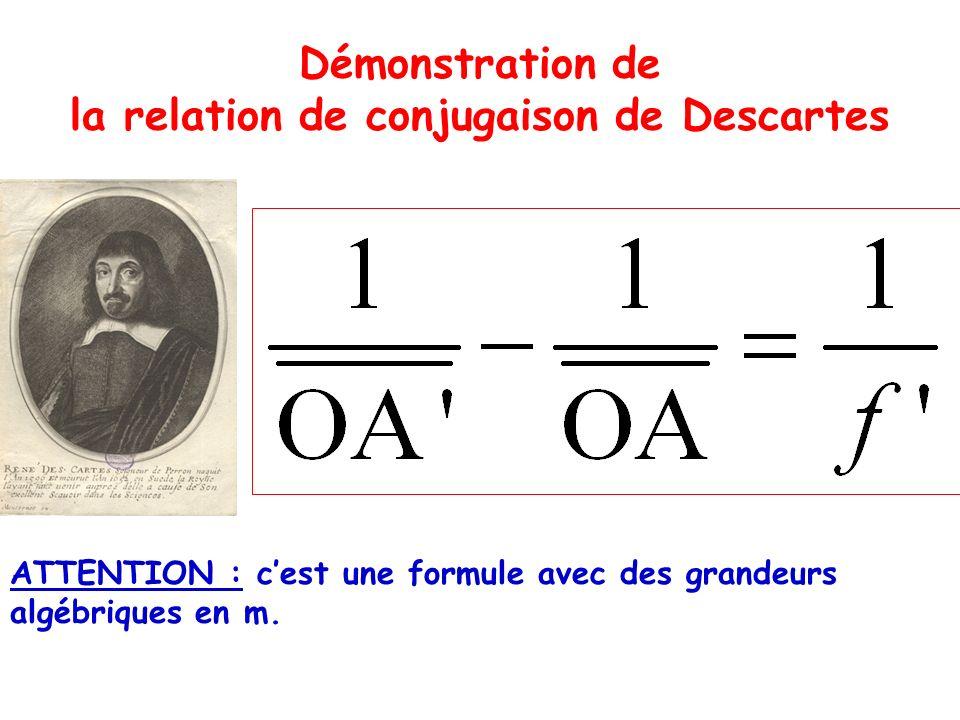 la relation de conjugaison de Descartes