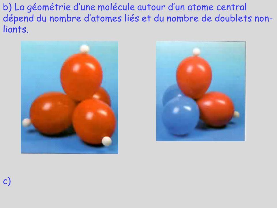 b) La géométrie d'une molécule autour d'un atome central dépend du nombre d'atomes liés et du nombre de doublets non-liants.