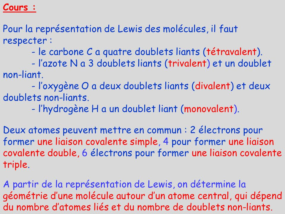 Pour la représentation de Lewis des molécules, il faut respecter :